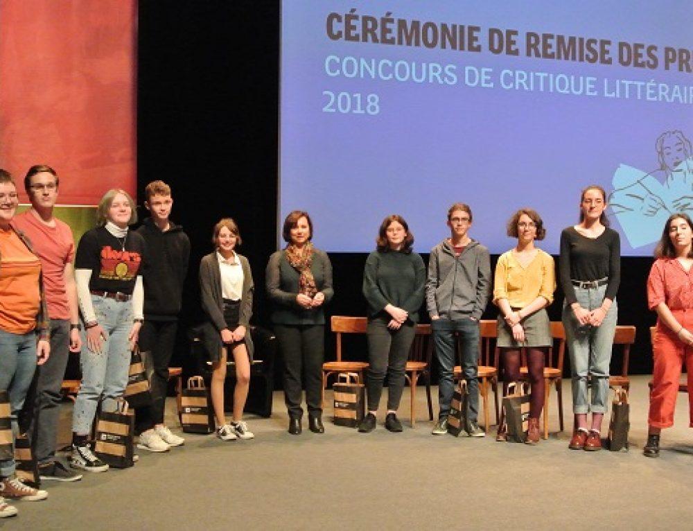 Remise des prix Concours de critiques 2018
